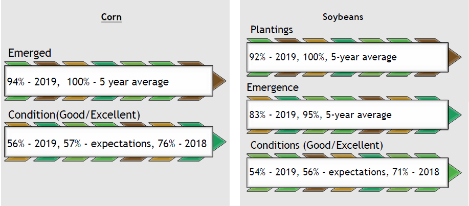 Emergence and Plantings of Corn and Soybeans